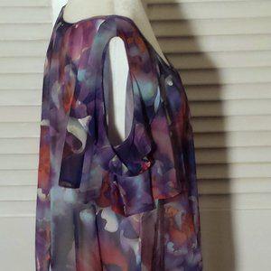 A.N.A. Sheer Floral Purple Cold Shoulder Blouse